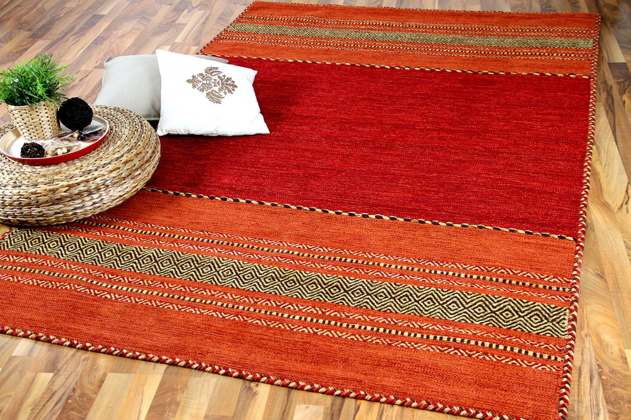 Natur teppich kelim navarro rot orange kaufen bei teppichversand