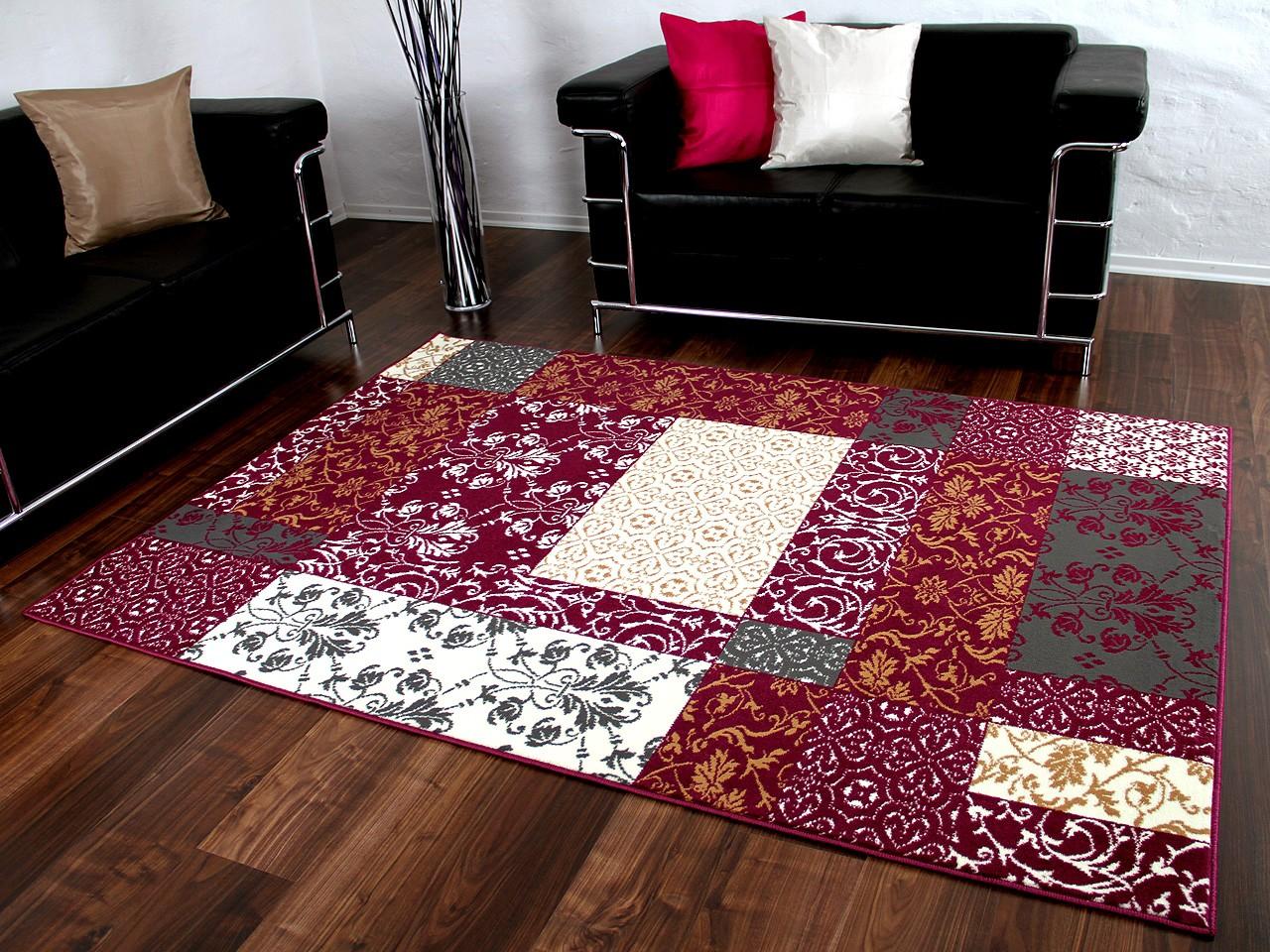 Designer Teppich Passion Lila Grau Patchwork Abverkauf Kaufen