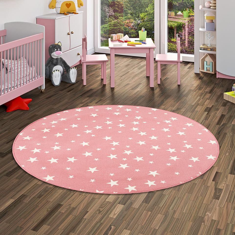 Kinderzimmer Teppich Stern Spielteppich in Rosa Möbel & Wohnen