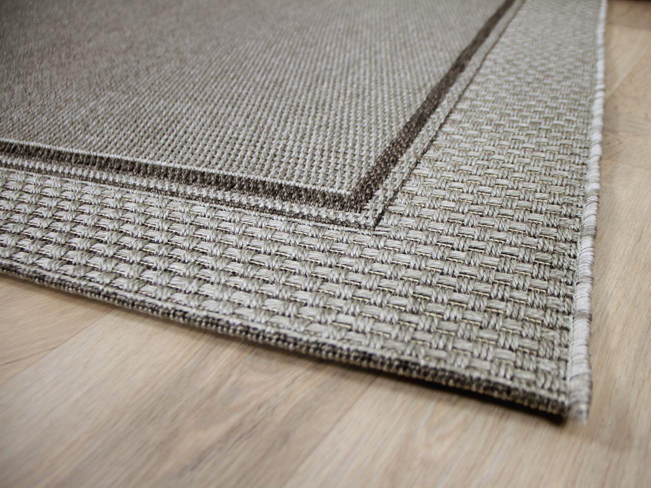 In Outdoor Teppich Flachgewebe Natur Panama Grau Bordure Kaufen