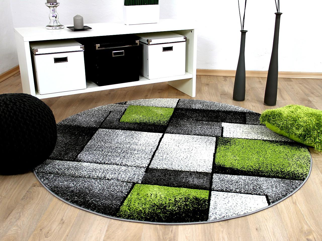 Designer Teppich Brilliant Grau Grun Fantasy Rund Kaufen Bei