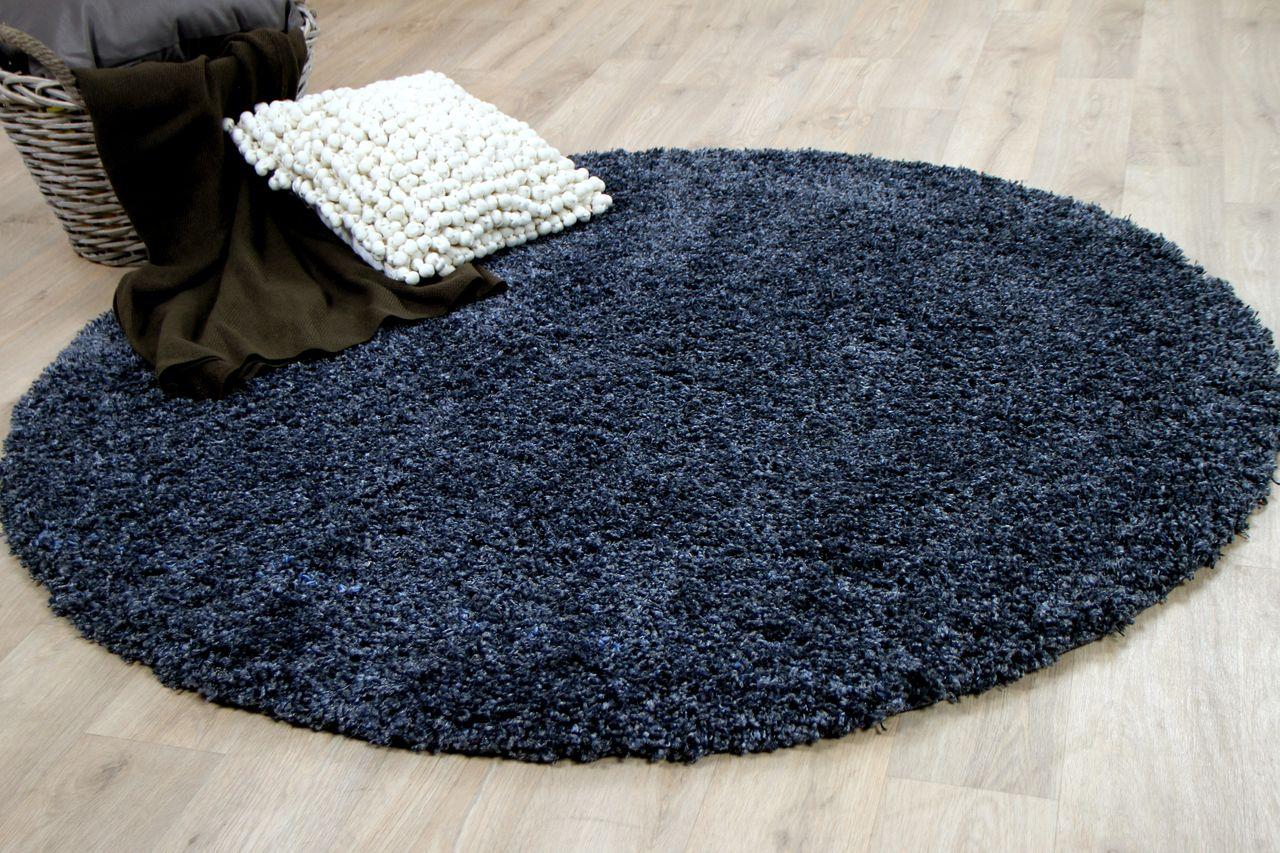 hochflor langflor shaggy teppich luxury schiefer blau rund kaufen bei teppichversand24. Black Bedroom Furniture Sets. Home Design Ideas