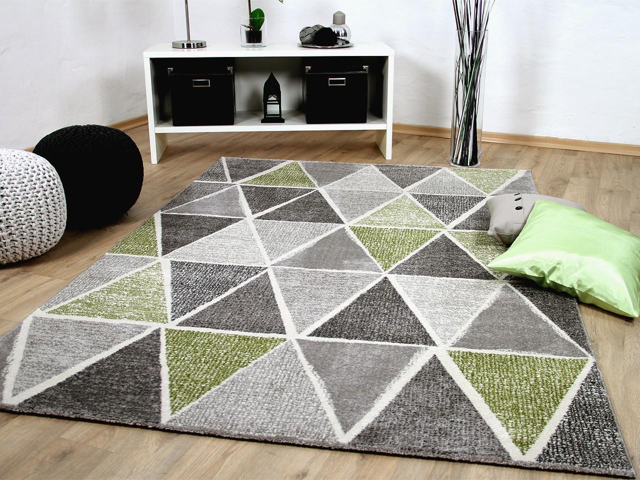 Designer teppich sevilla modern grau gr n prisma kaufen - Teppich modern grau ...