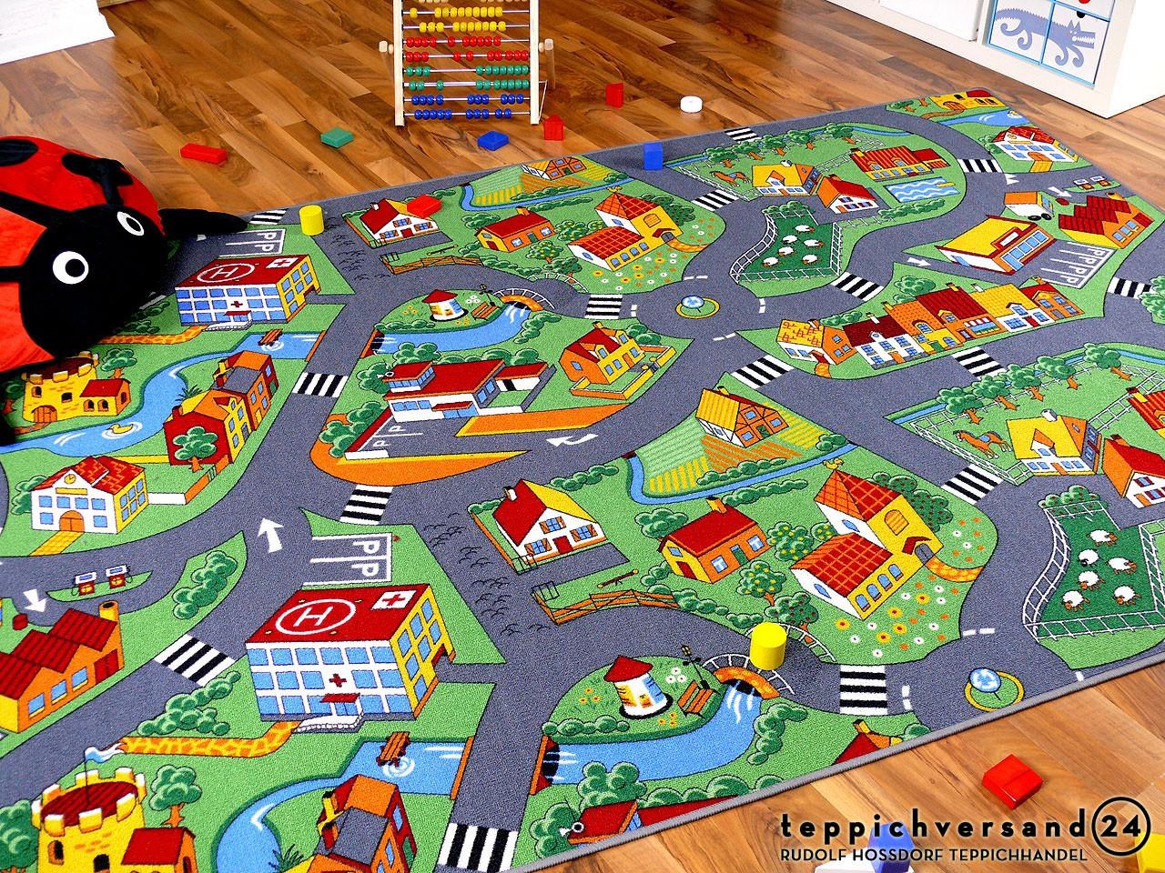 Kinder Spiel Teppich Little Village Grün - Kaufen bei teppichversand24