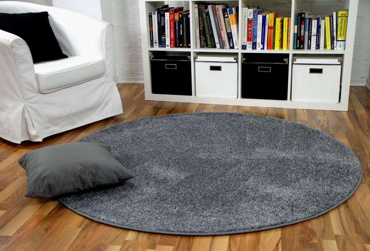 hochflor velours teppich mona grau rund kaufen bei teppichversand24. Black Bedroom Furniture Sets. Home Design Ideas
