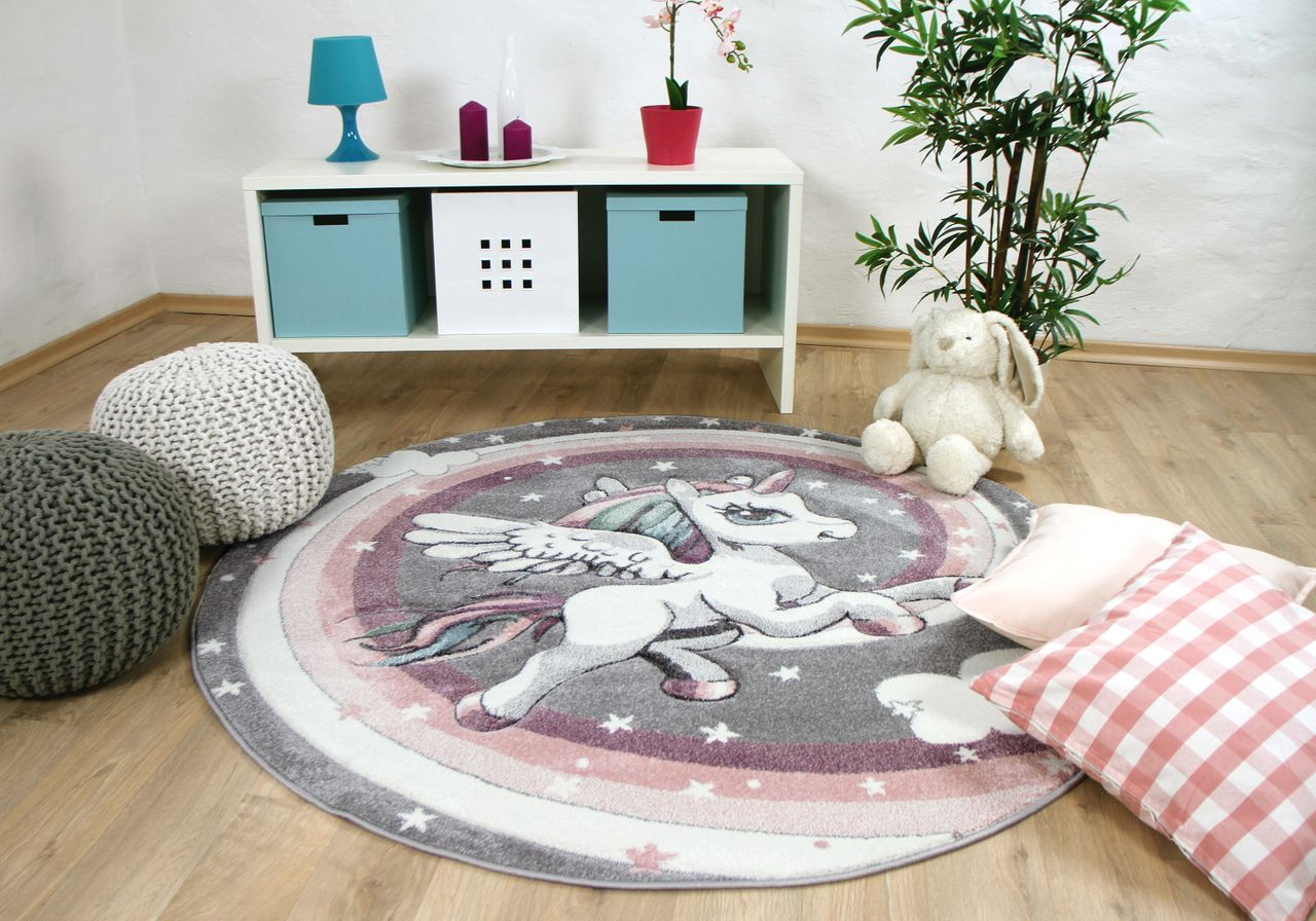 teppich kinder rund, kinder teppich maui kids pastell grau rosa einhorn rund - kaufen bei, Design ideen