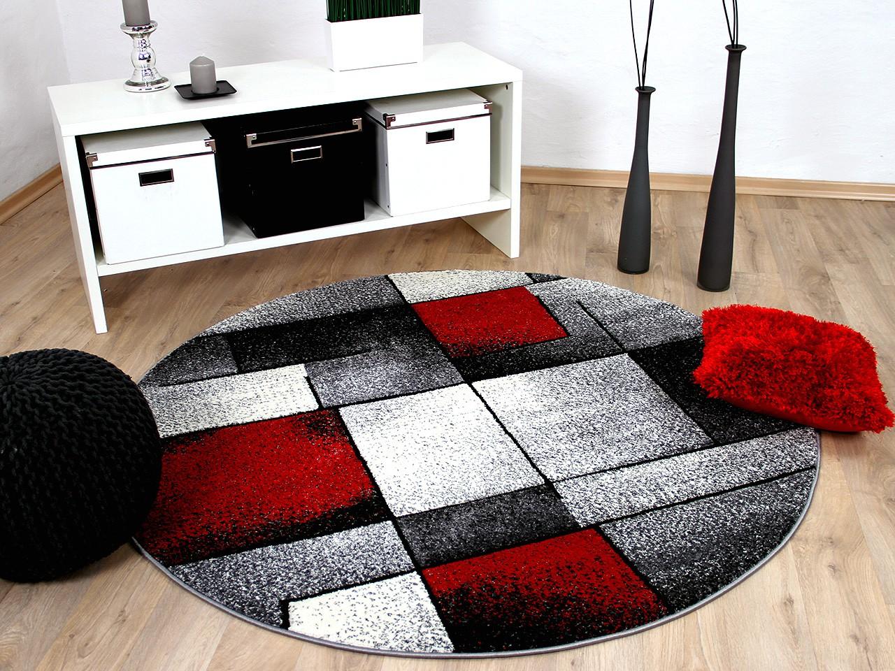 Designer Teppich Brilliant Rot Grau Fantasy Rund Kaufen Bei