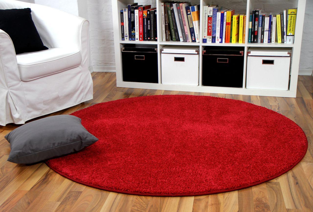 Hochflor Velours Teppich Mona Rot Rund Kaufen Bei Teppichversand24