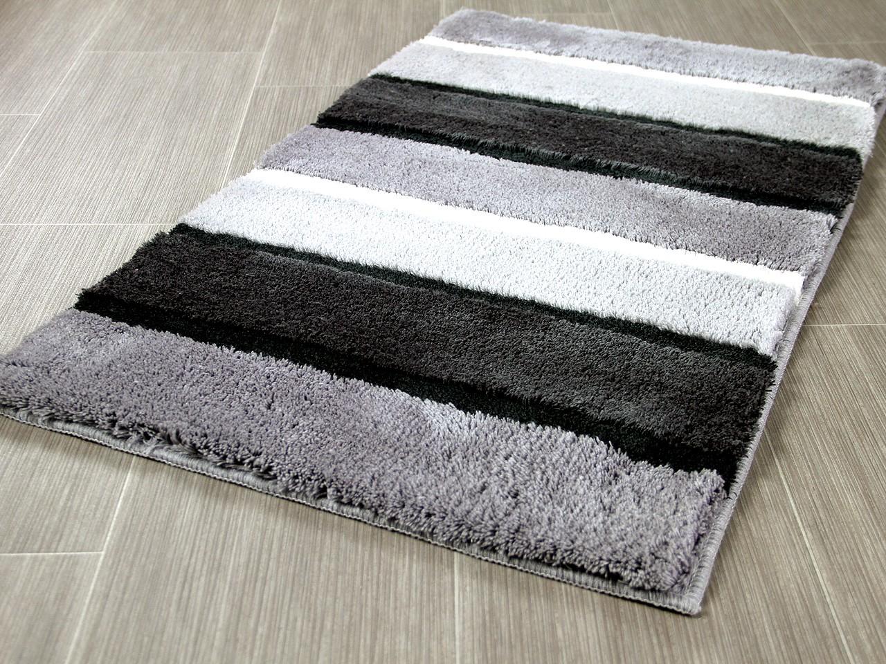 Badezimmerteppich Grau Weiss