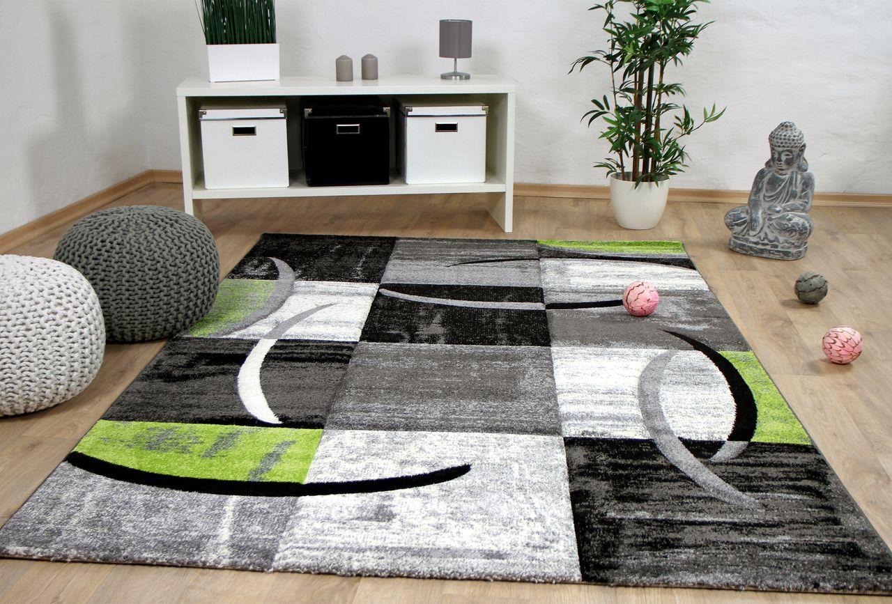 designer teppich brilliant karo grau gr n trend kaufen bei teppichversand24. Black Bedroom Furniture Sets. Home Design Ideas