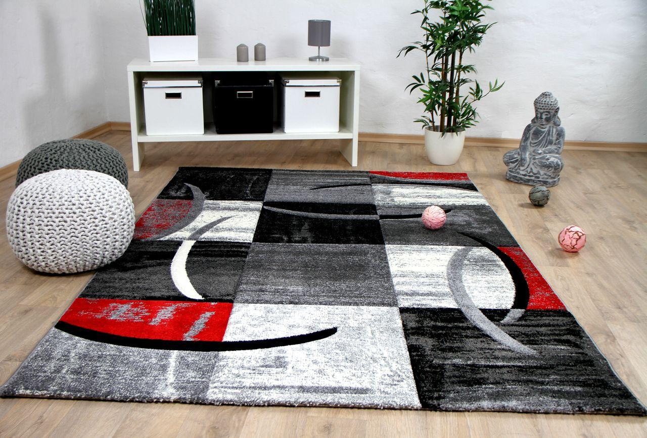 Designer Teppich Brilliant Karo Rot Grau Trend Kaufen Bei