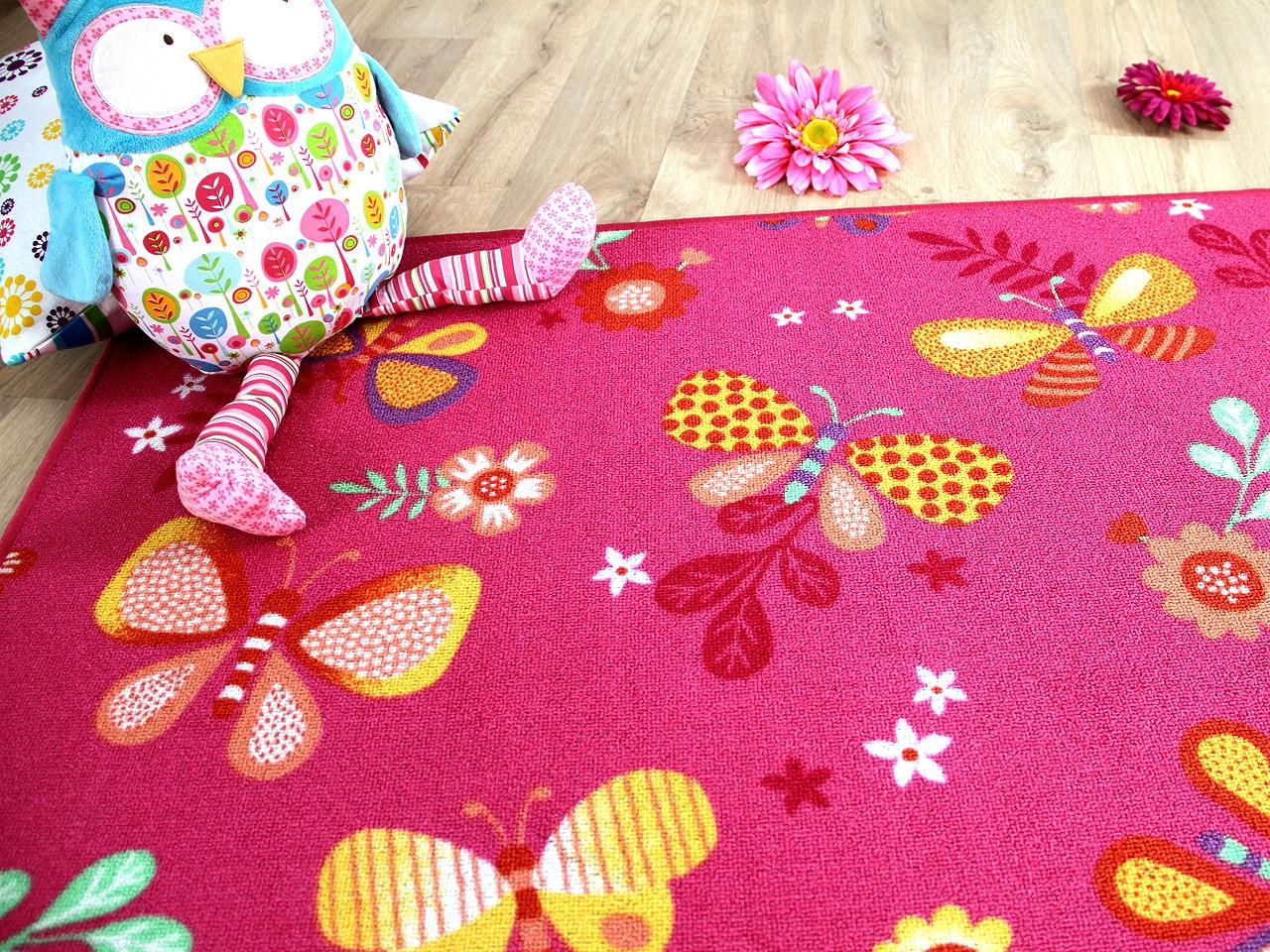 Kinder Spiel Teppich Schmetterling Pink Kaufen Bei Teppichversand24