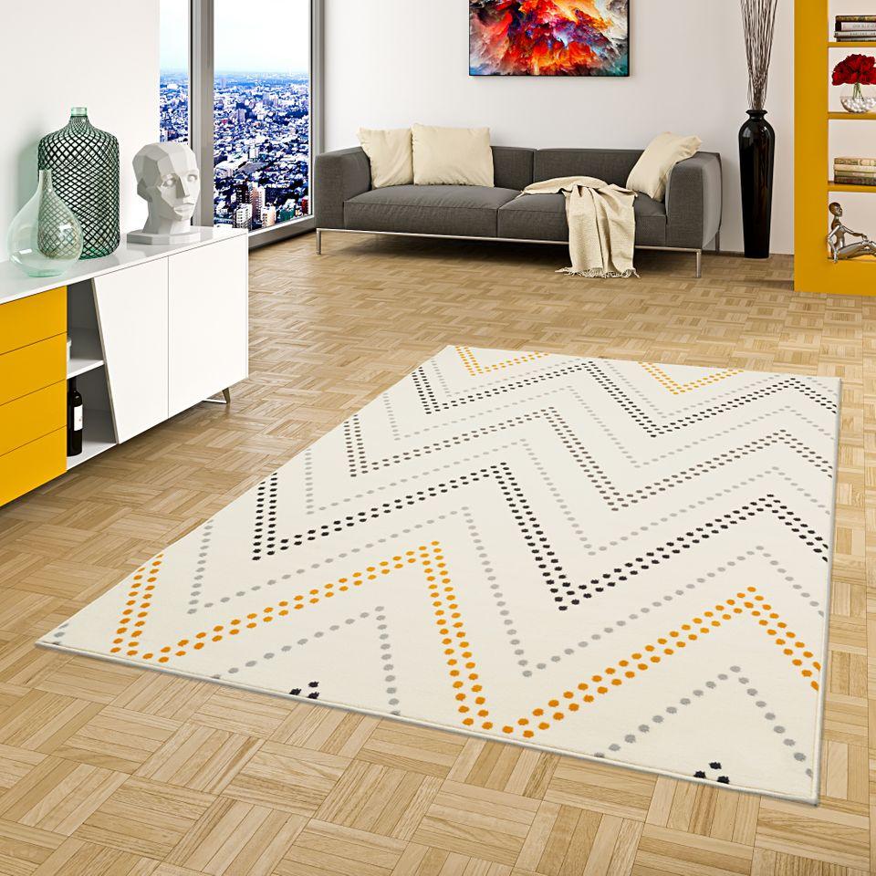 Teppich Modern Trendline Zick Zack Creme Gelb 1 ...