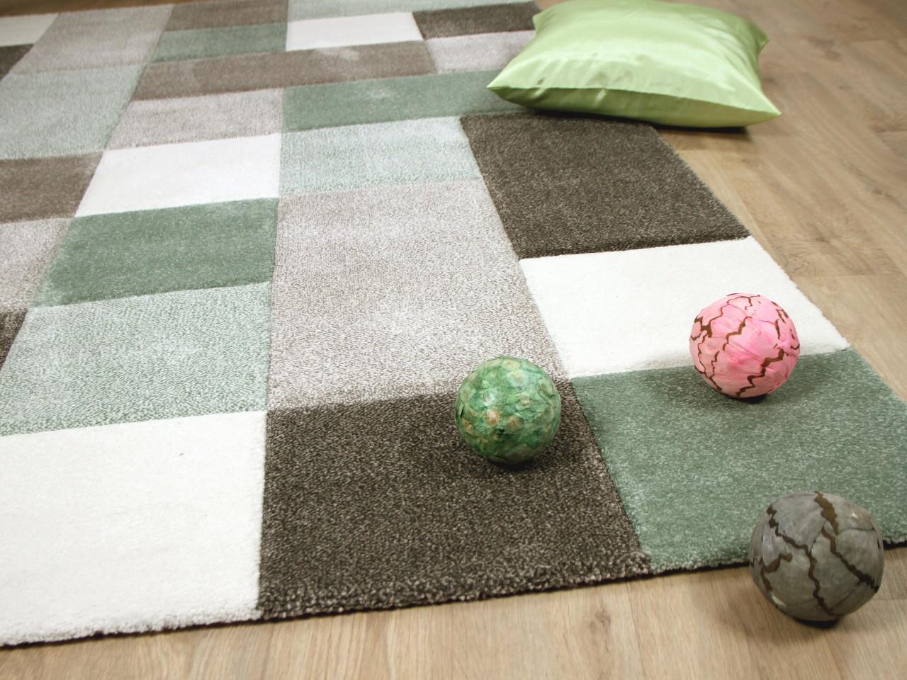 Hochflor teppich grau patchwork langflor grün modern heatset