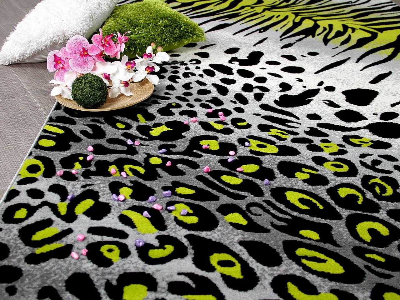designer teppich carat leopard zebra grau gr n kaufen. Black Bedroom Furniture Sets. Home Design Ideas