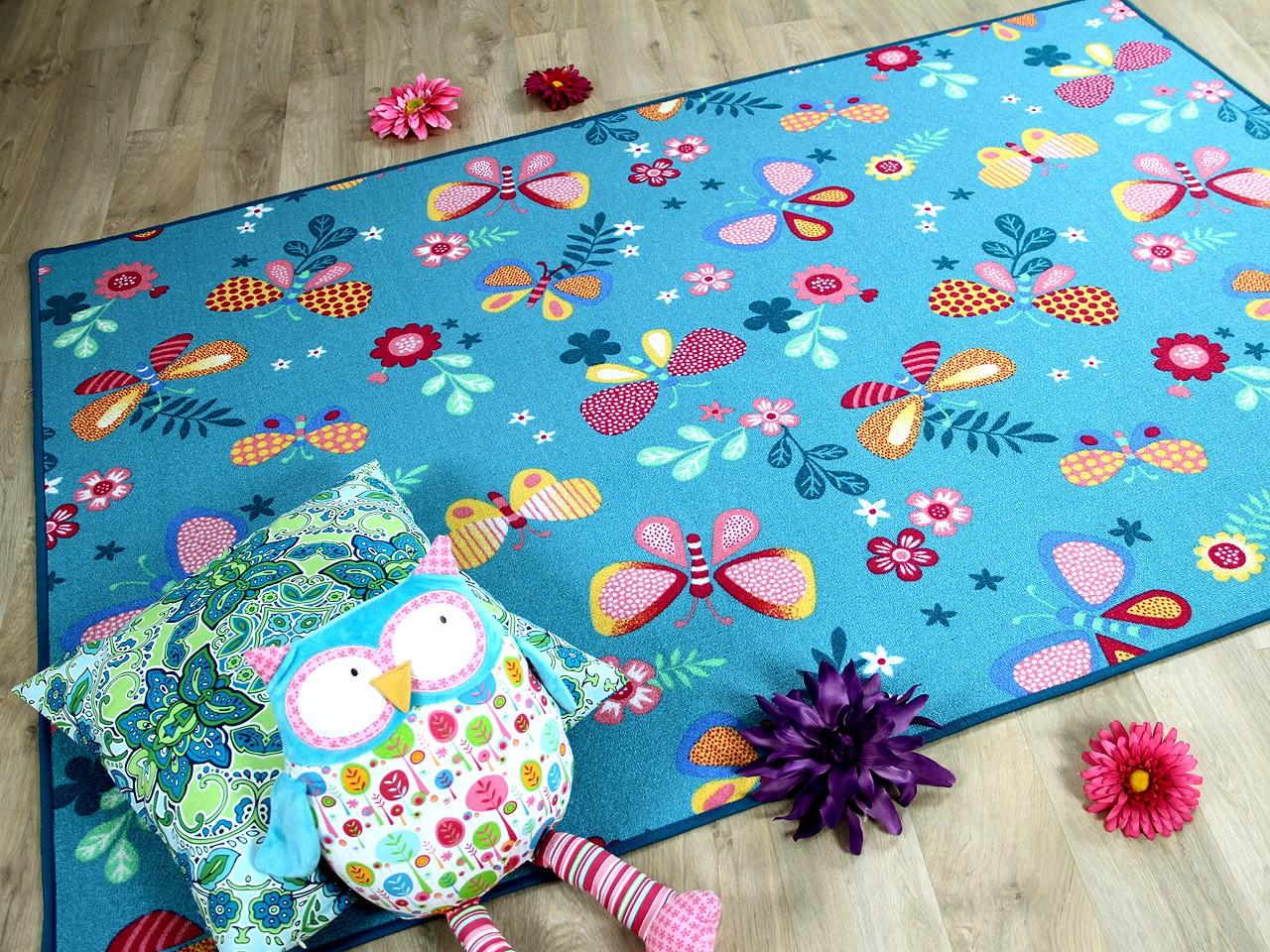 Kinder Spiel Teppich Schmetterling Turkis Kaufen Bei Teppichversand24
