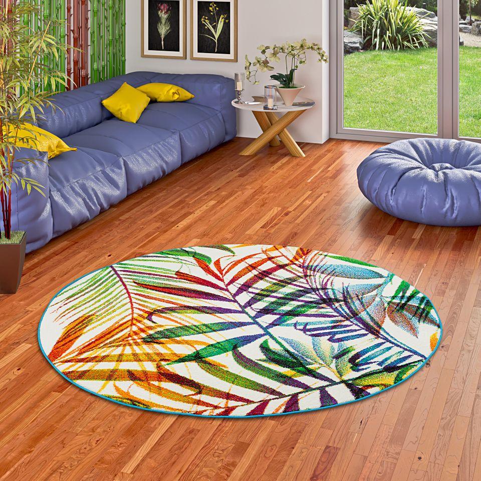 Designer Teppich Faro Tropical Bunte Zweige Rund Kaufen Bei
