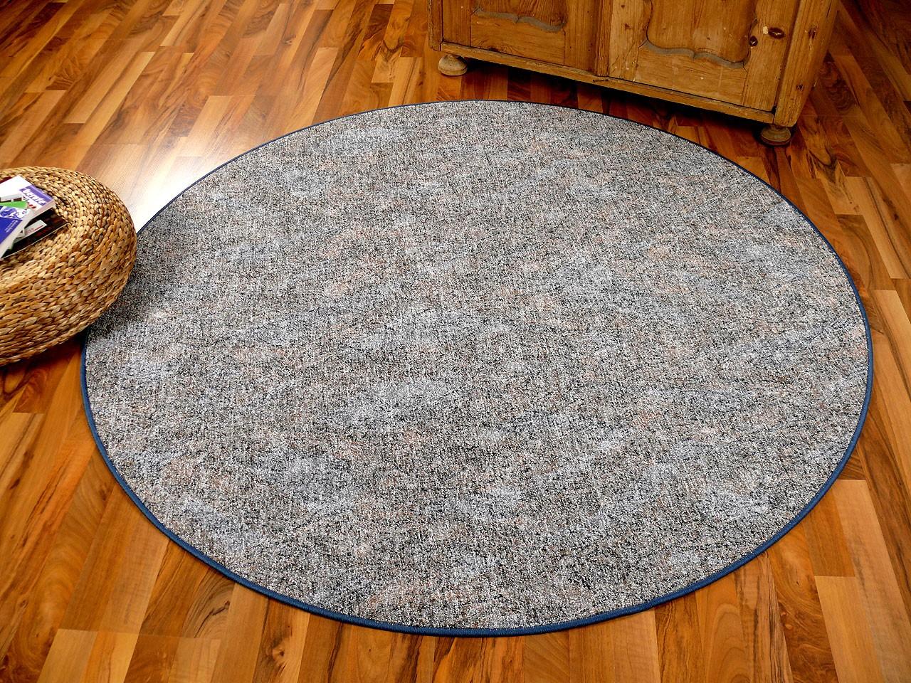 schlingen teppich memory grau blau meliert rund in 7. Black Bedroom Furniture Sets. Home Design Ideas