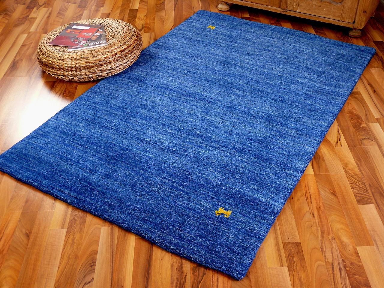 Indo Gabbeh Teppich Shiva Blau Uni 1 ...