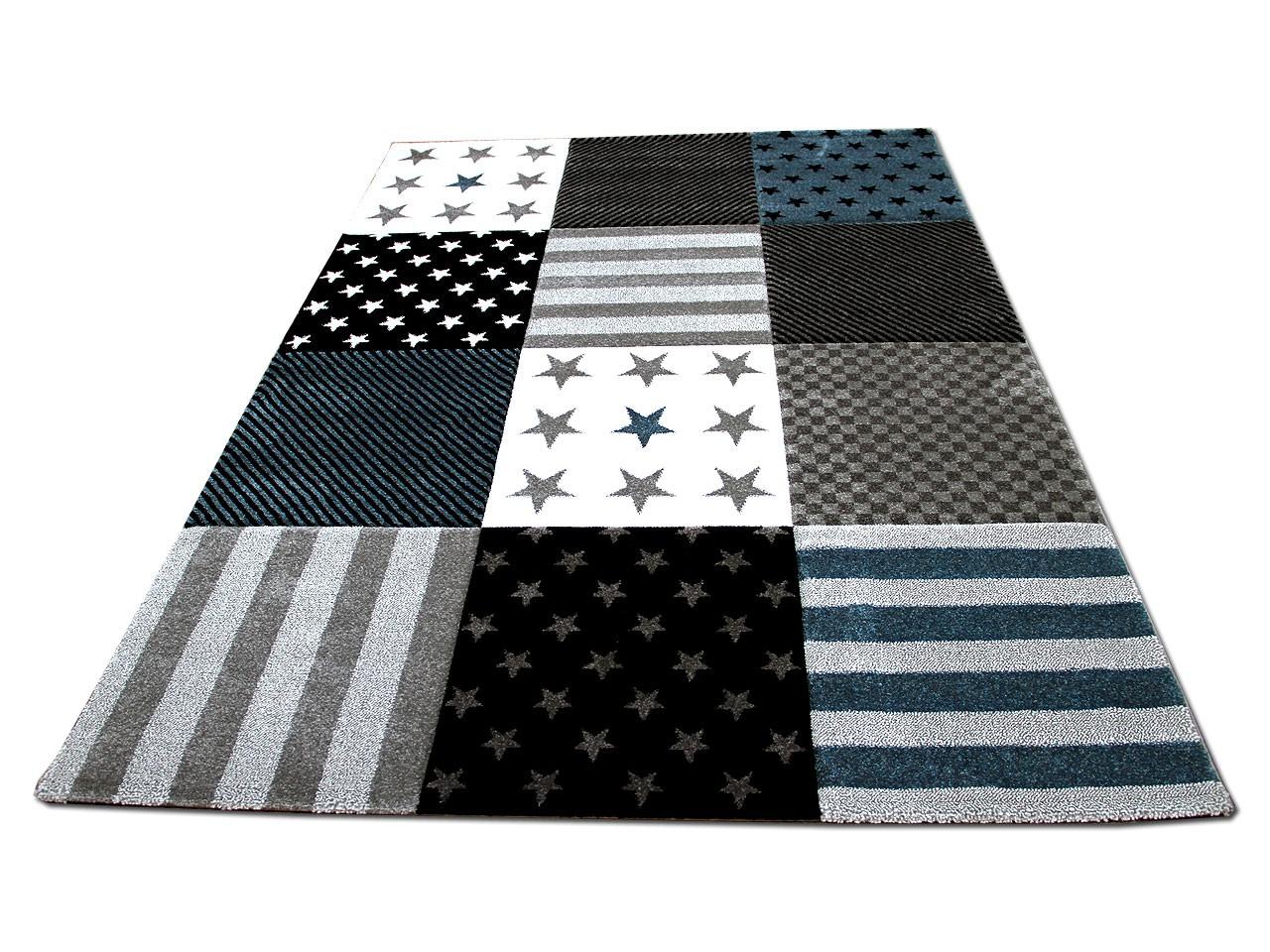 kinder und jugend teppich maui sterne grau t rkis kaufen bei teppichversand24. Black Bedroom Furniture Sets. Home Design Ideas