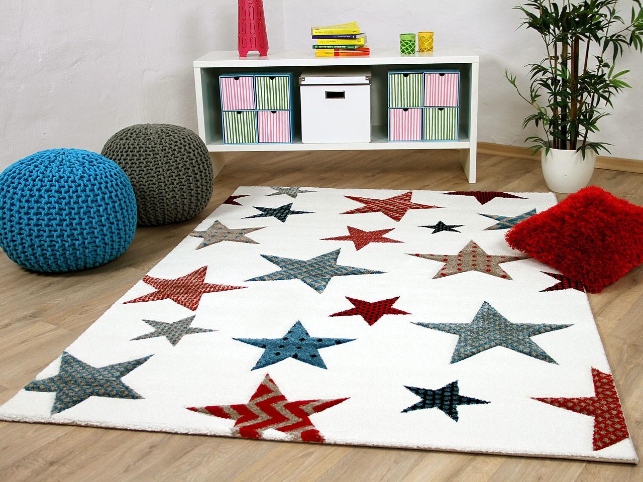 Kinder und Jugend Teppich Maui Creme Sterne Bunt - Kaufen bei ...