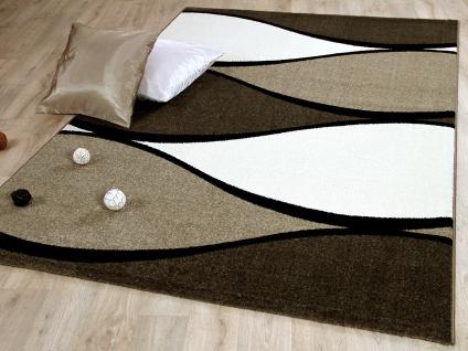 Designer Teppich Tango Braun Creme Wellen