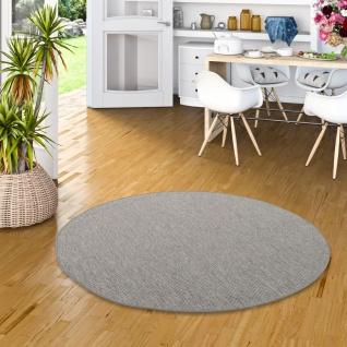 Sisal-Optik Designer Flachgewebe Teppich Pure Grau Meliert Rund