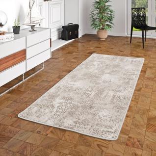 Läufer Designer Soft-Velours Teppich Vintage Grau