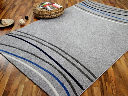 Designer Teppich Softstar Grau Blau Retro