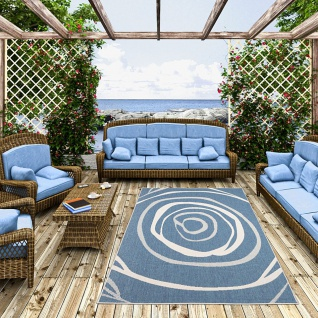 In- und Outdoor Teppich Beidseitig Flachgewebe Newport Blau Kreise - Vorschau 2