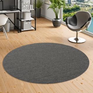 Sisal-Optik Designer Flachgewebe Teppich Pure Anthrazit Meliert Rund