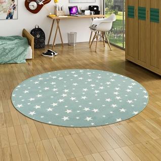 Kinder Spiel Teppich Sterne Mintgrün Rund