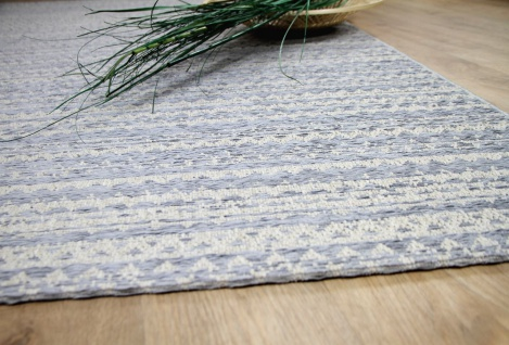 In & Outdoor Chenille Teppich Flachgewebe Scala Blau Streifen