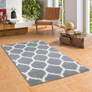 Soft-Touch Velours Designer Teppich Canvas Marokko Design Grau