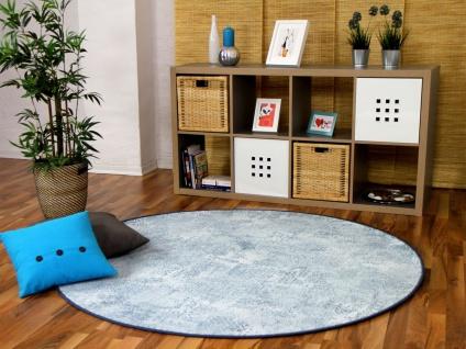 Designer Soft-Velours Teppich Vintage Eisblau Rund