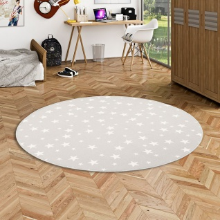 Kinder Spiel Teppich Sterne Grau Rund