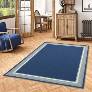 In- und Outdoor Teppich Flachgewebe Carpetto Bordüre Blau - Vorschau 1