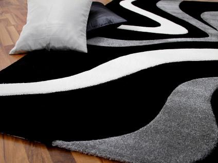 Designer Teppich Maui Schwarz Grau Wellen - Vorschau 2