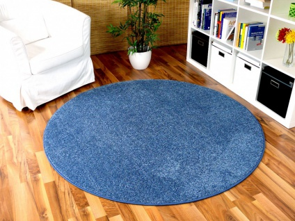 Hochflor Velours Teppich Triumph Blau Rund in 7 Größen