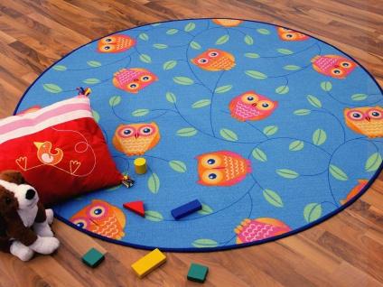 Kinder Spielteppich Eule Blau Rund in 7 Größen