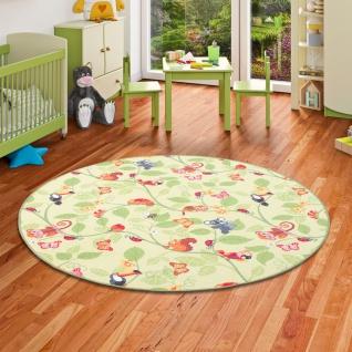 Kinder Spiel Teppich Velours Urwaldtiere Grün Rund