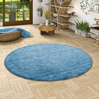 Natur Teppich Indo Gabbeh Ella Blau Rund - Vorschau 1