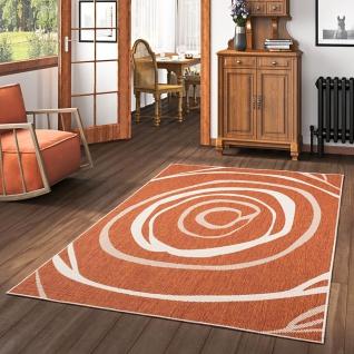 In- und Outdoor Teppich Beidseitig Flachgewebe Newport Terrakotta Kreise