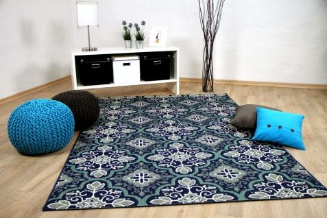 In- und Outdoor Teppich Flachgewebe Carpetto Fliesenoptik Blau