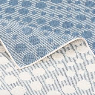 In- und Outdoor Teppich Beidseitig Flachgewebe Newport Blau Grau Punkte