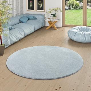 Hochflor Luxus Velours Teppich Touch Silberblau Rund
