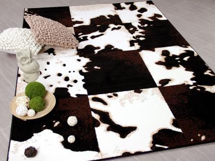 Designer Teppich Safari Kuh Patchwork