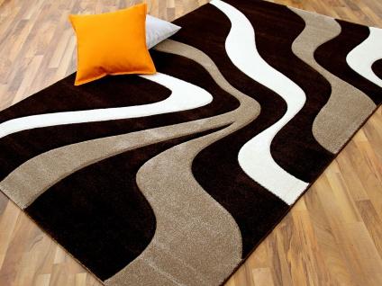 Designer Teppich Maui Braun Beige Wellen