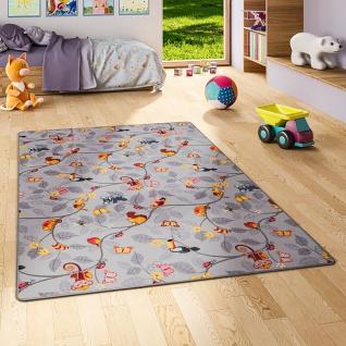 Kinder Spiel Teppich Velours Urwaldtiere Grau