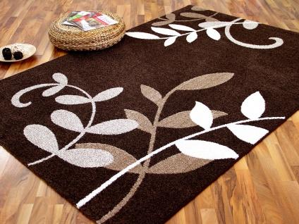 Designer Teppich Softstar Braun Blumen